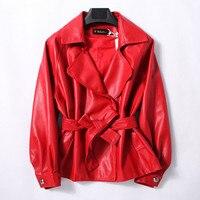 Leather Jacket Women 100% Sheepskin Coat Autumn 2018 New Plus Size Vintage Red Black Female Jackets Lady Genuine Leather Jacket