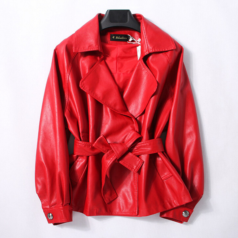 Leather Jacket Women 100% Sheepskin Coat Autumn 2018 New Plus Size Vintage Red Black Female Jackets Lady Genuine Leather Jacket