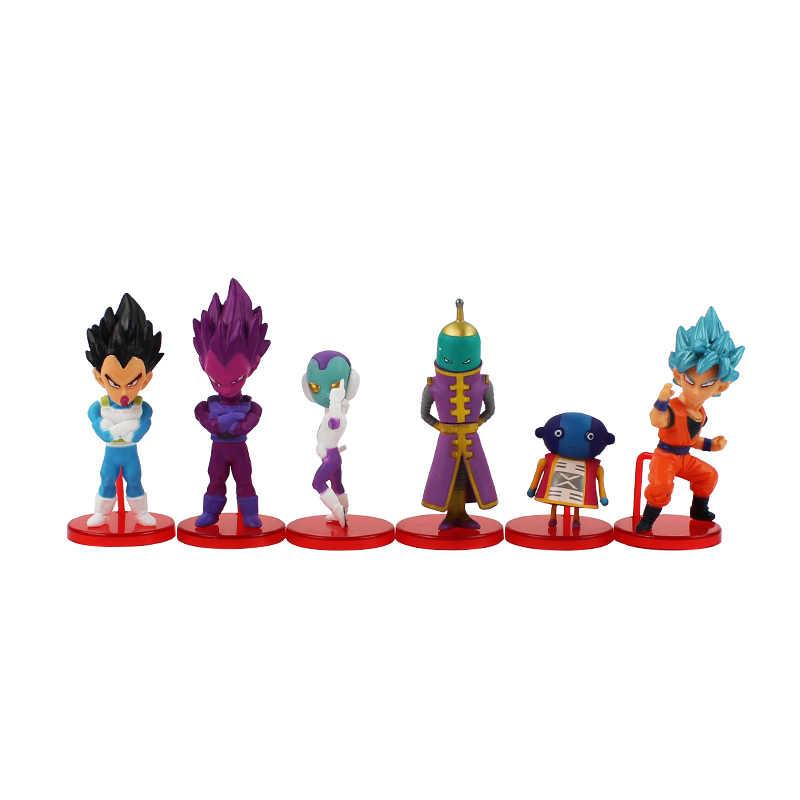 6 pçs/set 4-8 cm Dragon Ball Z Goku Super Saiya Vegeta Goku Deus Com Deus Azul Q Ver. PVC Modelo de Brinquedo Figura de ação DBZ