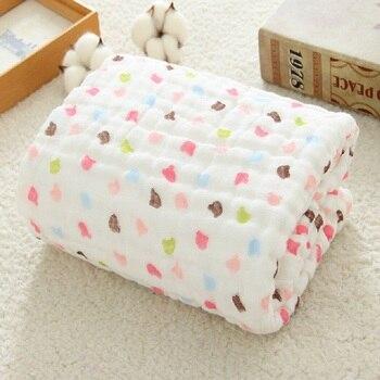 Envoltório Swaddle musselina Swaddle Cobertores Do Bebê Panos 100% Algodão para Bebês Recém-nascidos 6 Camada Toalha de Banho Cobertor Do Bebê Cama
