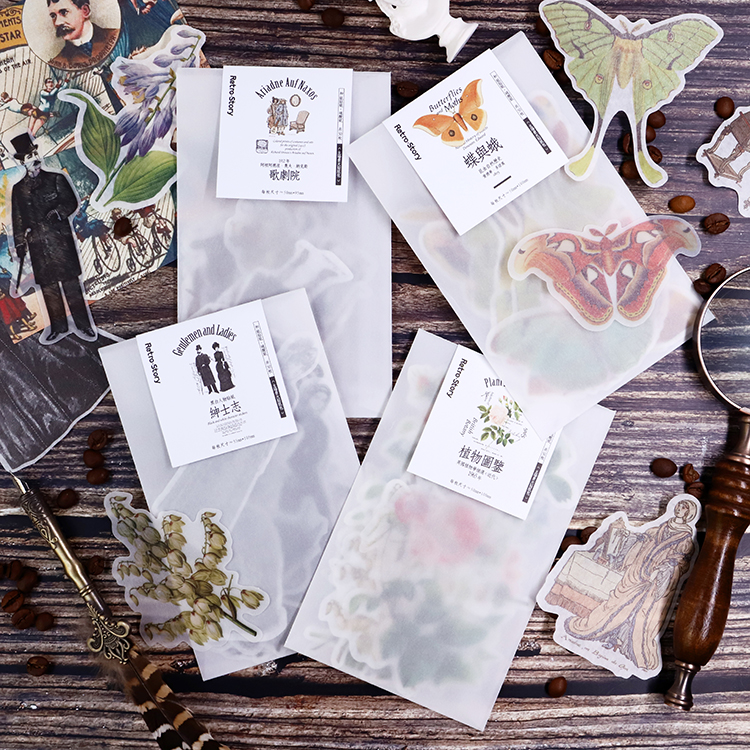 50 Pcs/pack Plant Illustration Series Cute Vintage Sticker Custom Stickers Diary Stationary Flakes Scrapbook DIY Decorative