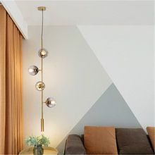 Nordic Loft 4/6 Cross Section Vertical Section Long Chandelier Restaurant Living Room Chandelier Glass Bulb Metal Rod Chandelier(China)