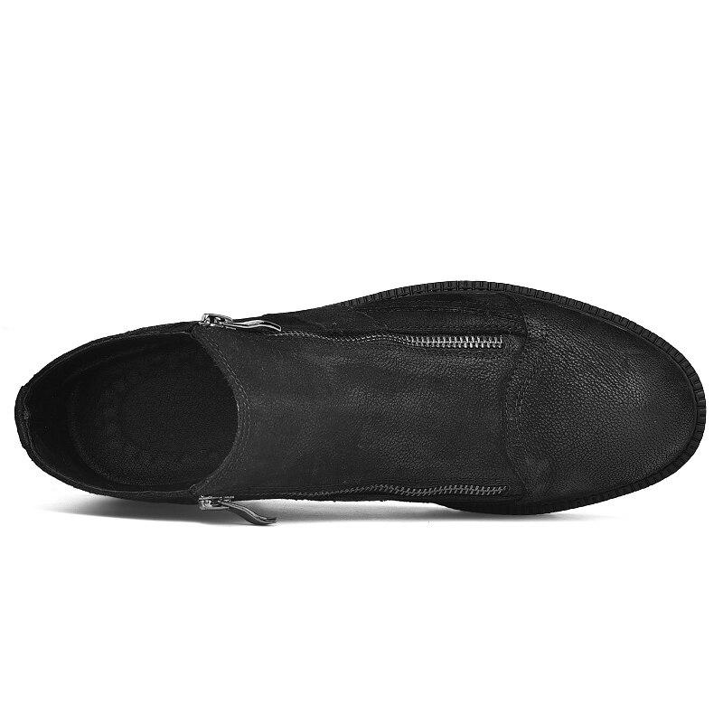 Fotwear hommes botte en cuir pleine fleur hommes travail noir chaussures hiver botte en peluche avec zip doublure en micropolaire douce pour plus de chaleur - 4