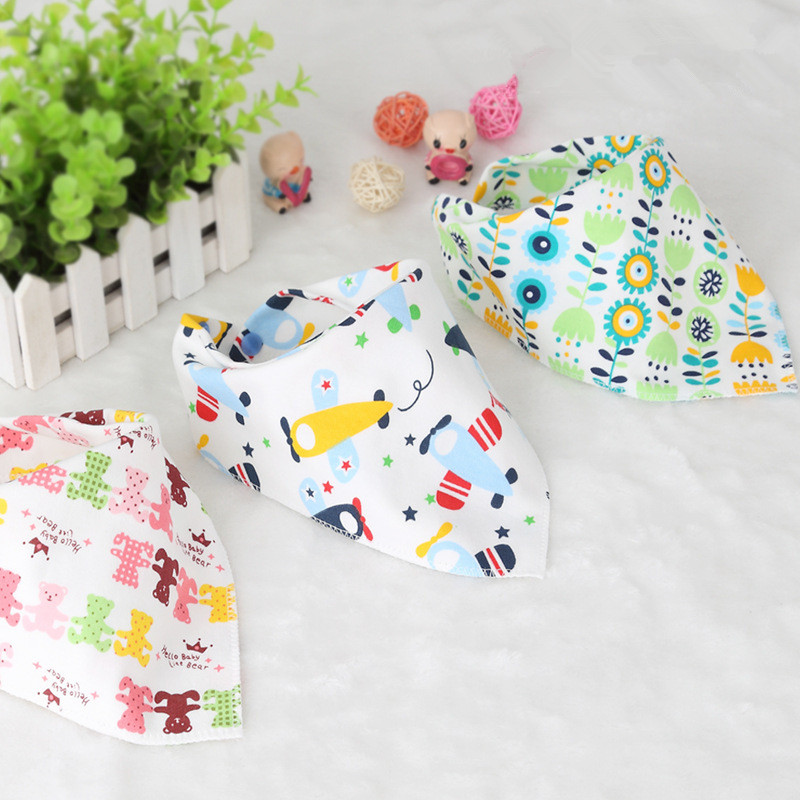 ZIKA Baby bibs Cute Triangle Double Layer Cotton Baberos Animal Print Baby Accessories Baby Bandana bibs Dribble Bibs Baby Stuff