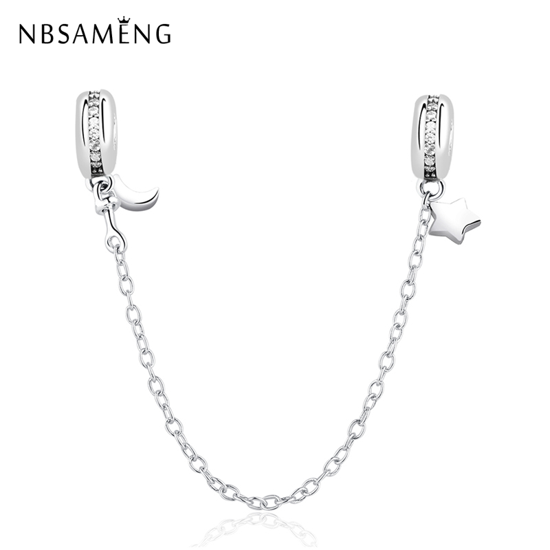 NBSAMENG 100% 925 Sterling Silver Bead Charm Star Moon Crystal Safety Chain Clip Beads Fit Original Pandora Bracelet DIY Jewelry