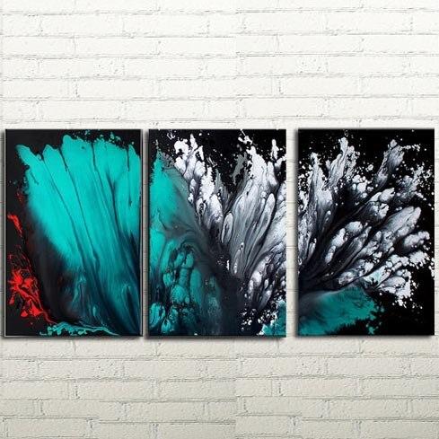 Nejnovější tři kusy skupinová malba na plátně velká abstraktní Purpurová olejomalba Impasto Textura současného umění nástěnné malby