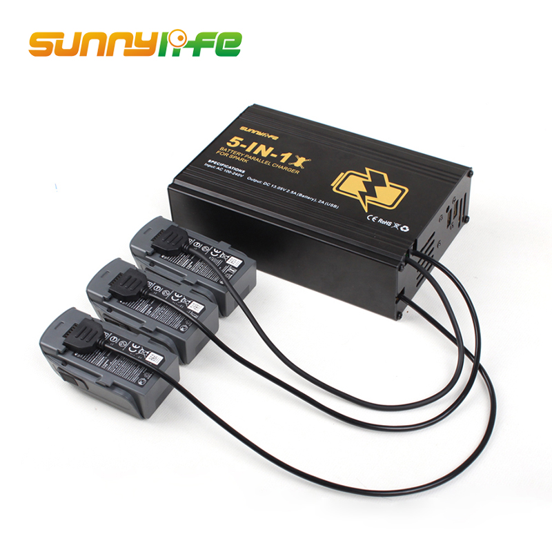 Sunnylife DJI 5 in 1 Battery Parallel Charger Hub Remote Controller Charger Dual USB Combo for DJI Spark Drone Accessories elegant beaded a line appliques court train evening dress