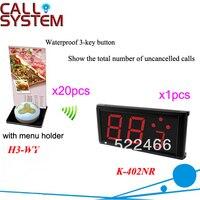 통화 버튼 및 led 디스플레이가있는 레스토랑 서비스 용 전자 시스템 K-402NR + H3-WY 호출