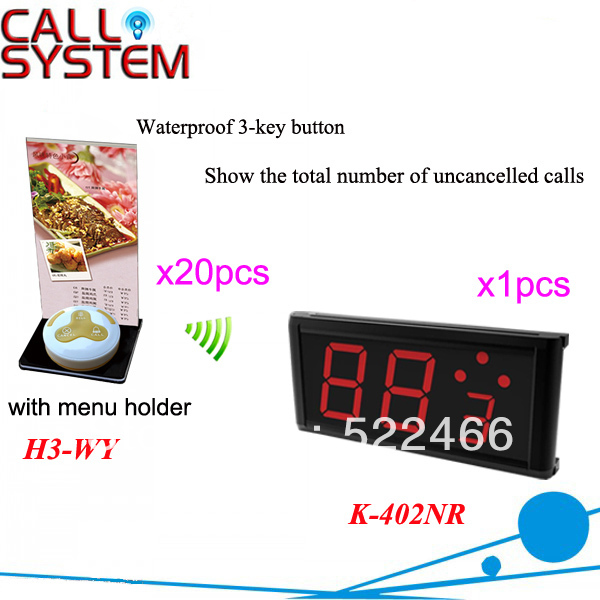 Calling Electronic System K-402NR+H3-WY for restaurant service with call button and led displayCalling Electronic System K-402NR+H3-WY for restaurant service with call button and led display
