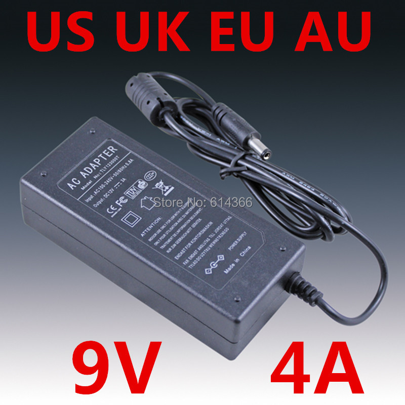 10pcs Adequate power 9V4A AC 100V 240V Converter Adapter DC 9V 4A 4000mA Power Supply DC