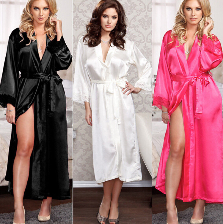 Women Sexy Faux Satin Lace Silk Long Robes Underwear Lingerie Nightdress Sleepwear Bathing Robe Belt Without G-string Black