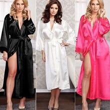 Women Sexy Faux Satin Lace Silk Long Robes Underwear Lingerie Nightdress Sleepwear Bathing Robe Belt Without G-string Black