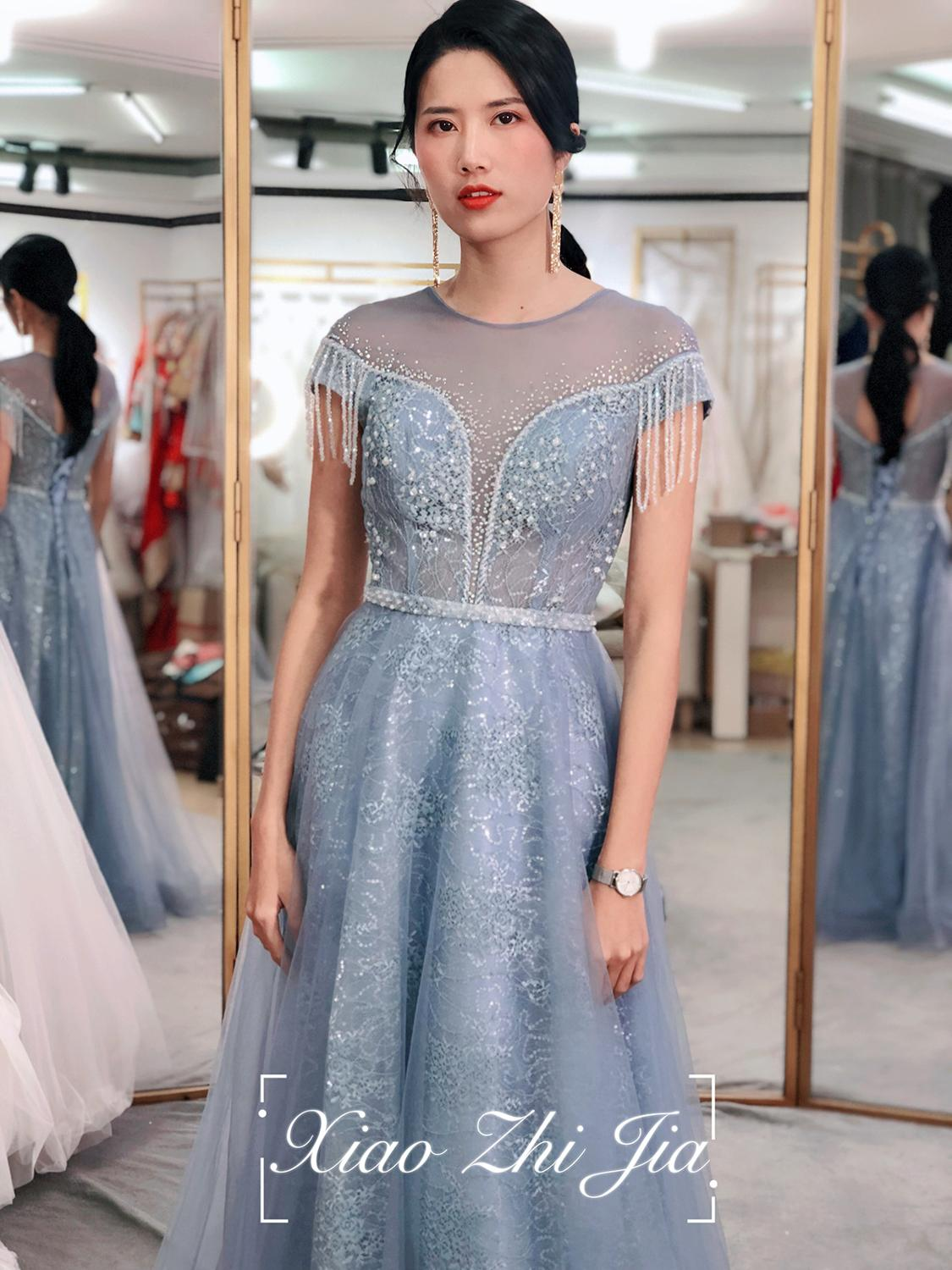 Stylish Slim Sexy Lace Mesh Dress Flower Evening Party Gown Chinese Style Evening Dress  Improved Qipao Vestidos Size S-XXXL