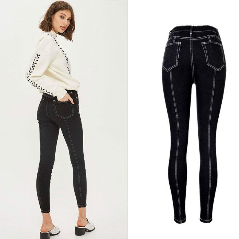 England Fashion Slim   Jeans   Women Pleated Spliced Denim High Waist Elasticity Skinny Pencil Pants Black Push Up Pantalon Femme