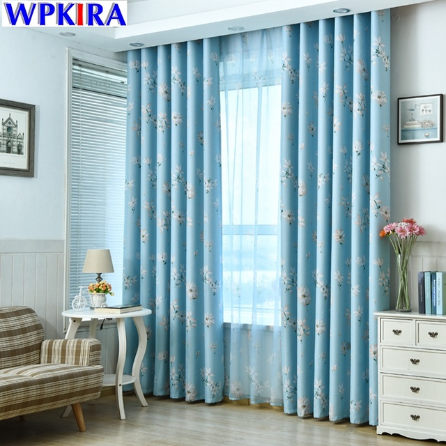 Blue Floral Print Curtain Window Shade Patterns Decoration Pour Salon  Modern Living Room Curtains Sheer Window