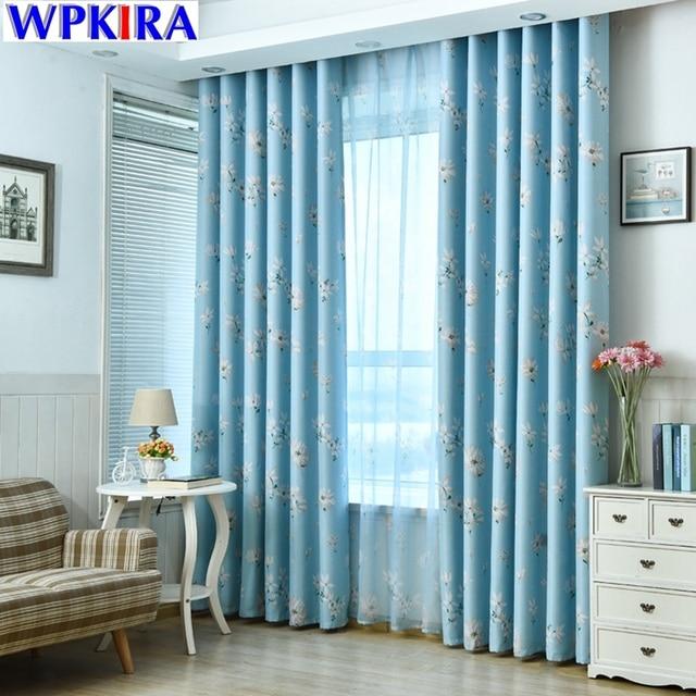 Estampado floral azul cortina ventana sombras pegatinas - Pegatinas para cortinas ...