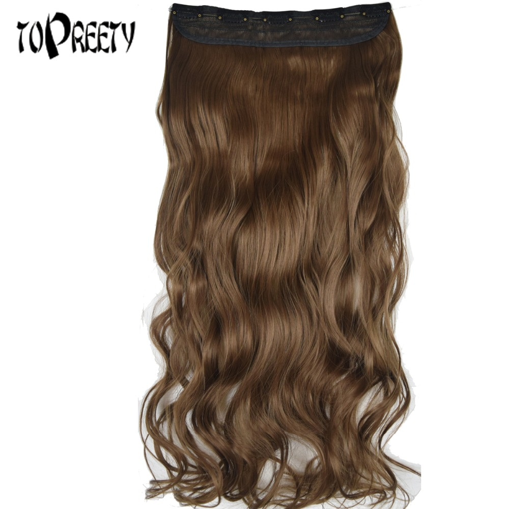 TOPREETY Heat Resistant B5 Synthetic Hair 22 55cm 130gr Deep wave 5 clips on clip in Hair Extensions