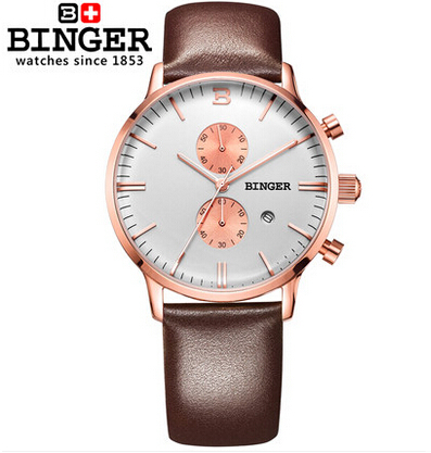 2016 New Fashion Watch Women Geneva Brand Binger Watches Men Quartz Watch Gold Steel Relogio Masculino