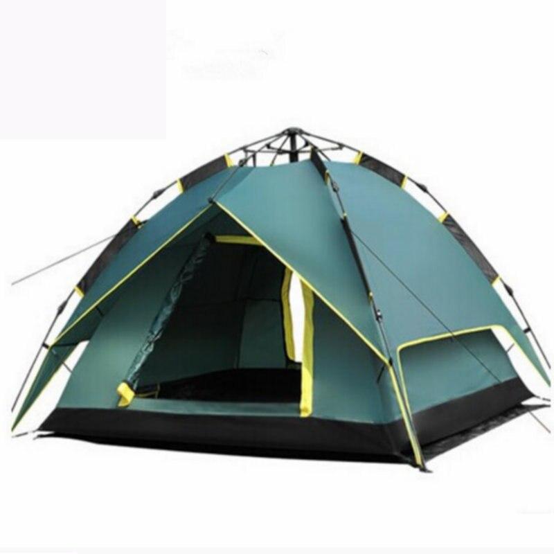 2018 nouveauté 3-4 personnes tentes hydraulique automatique coupe-vent imperméable Double couche tente extérieure randonnée Camping tente