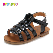 Summer New Childrens Sandals for Boys Bright Leather Non-slip Kids Beach Shoes Girls Princess Baby Open Toe Roman