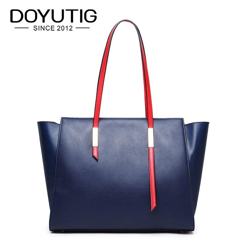 DOYUTIG Women European Design Big Handbag Genuine Leather Cowhide Handbags Lady Genuine Leather Large Capacity Big Totes F629
