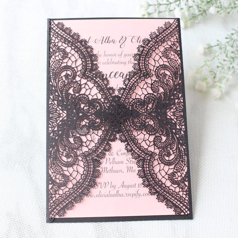 Sexy black lace laser cut wedding invitations with pink insert cards personalized printing birthday prom party