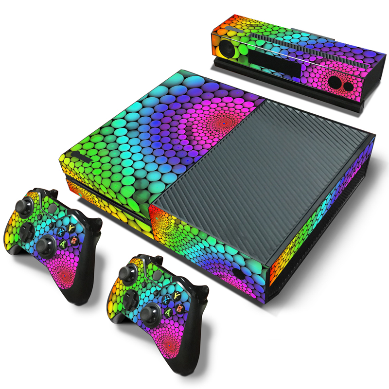 OSTSTICKER Colorful Circles Vinyl Decal Cover for Xbox One Console and Controller Skin Stickers free shipping