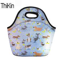 b05faf54b THIKIN Cute Dog Neoprene Food Bag Women Bread Lunch Bag Child Thermal  Lunchbox Travel Picnic Bags For Kids Girls Bolsa Termica