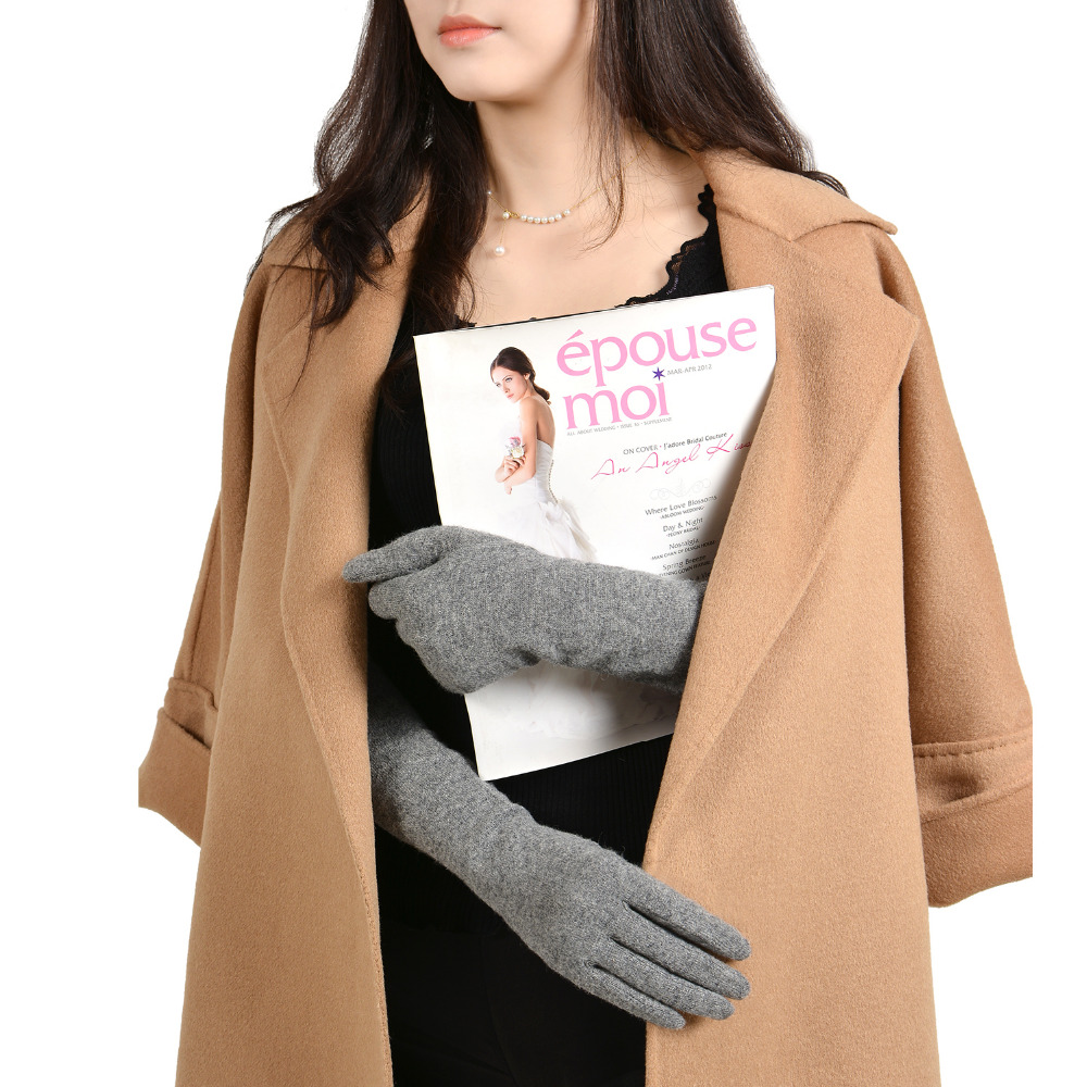 GSG Womens sarung tangan bulu panjang musim sejuk skrin sentuh sarung - Aksesori pakaian - Foto 4