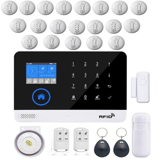 SmartYIBA Russian Spanish French Wireless Wifi GSM GPRS RFID Home Security Burglar Alarm System Smoke Fire Sensor Alarm Kit цены онлайн