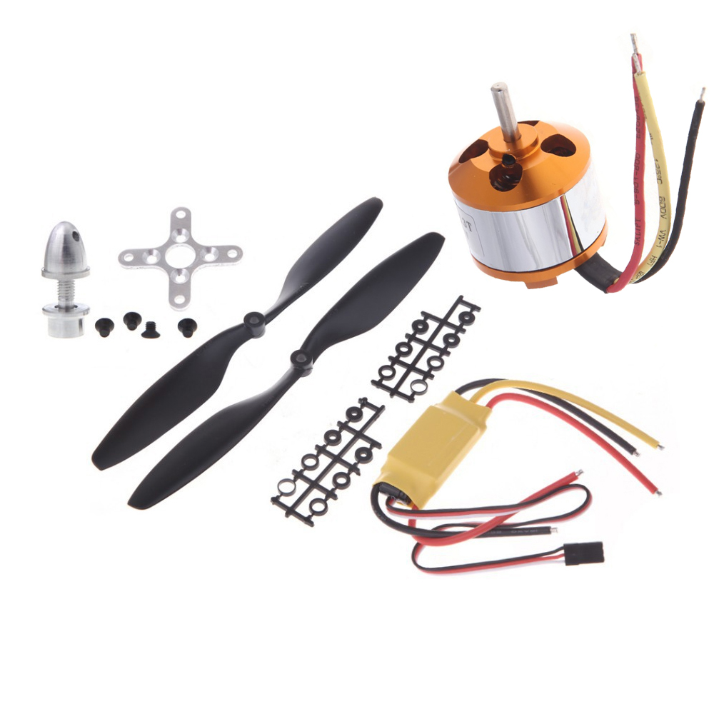 A2208 1100KV/1400KV/2600KV Brushless Outrunner Motor+30A ESC+1045 Propeller(1 pair) Quad-Rotor Set for RC Aircraft Multicopter 4pcs 6215 170kv brushless outrunner motor with hv 80a esc 2055 propeller for rc aircraft plane multi copter