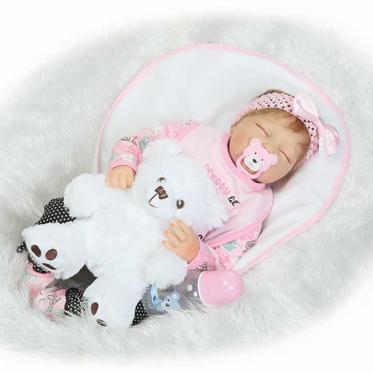 55cm Silicone Reborn Babies Dolls Toy Newborn Girl Sleeping Baby Doll Toy For Kids Girls Brinquedos Lovely Birthday Gift 22 inches sweet girl dolls brown hair 55cm doll reborn baby lovely toys cute birthday gift for girls as american girl
