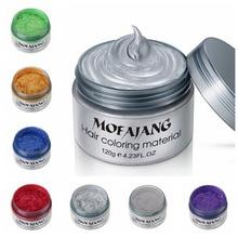 Mofajang 7 צבעים חד פעמי שיער צבע שעוות צבע אחד זמן דפוס להדביק רסיס סבתא ירוק שיער לצבוע שעוות בוץ קרם