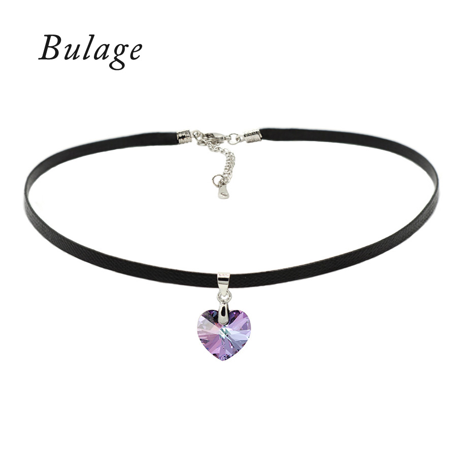 Bulage Classic Heart Pendant Choker Necklace Crystals From