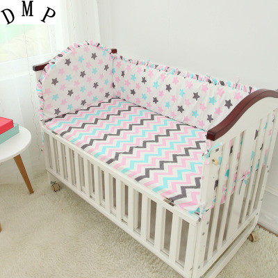 Promotion 5PCS Cartoon Baby Boy Crib Bedding Set Cot set include 4bumper sheet