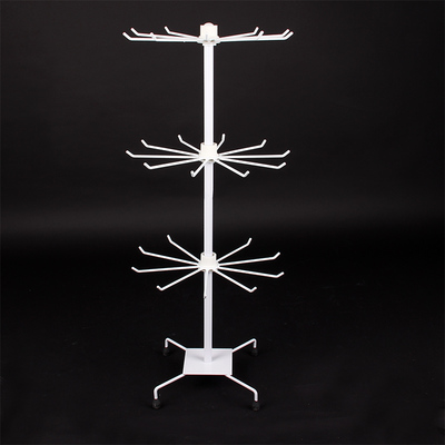 3 Tier White socks hat display stand scarf jewelry necklace bracelet rack gloves mask rotating retail cosmetic product shelves