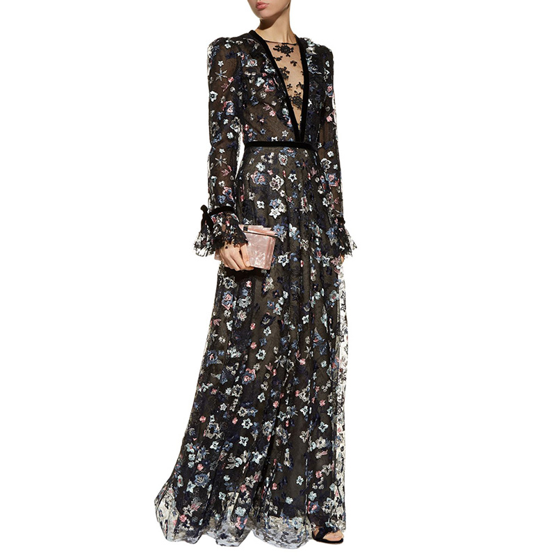 see through mesh embroidery floral maxi dress deep v neck velvet bowknot cuff long sleeve a