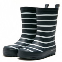Kids Boys Girls Rain Boots Soft Rubber Stripes High Quality Waterproof Antiskid Mid calf Infant Middle Tube Boots