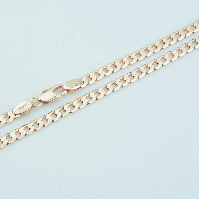 US $3 89 22% OFF|1pcs 4mm 45cm 55cm Necklace Men Women Gold 585 Color Flat  Curb Chains Jewelry Wholesale Price-in Chain Necklaces from Jewelry &
