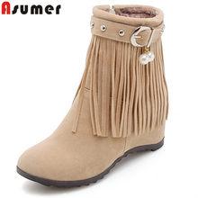 cc9c7703ca ASUMER 2018 ankle boots de moda para mulheres dedo do pé redondo zip  rebanho franja outono inverno botas altura crescente tamanh.