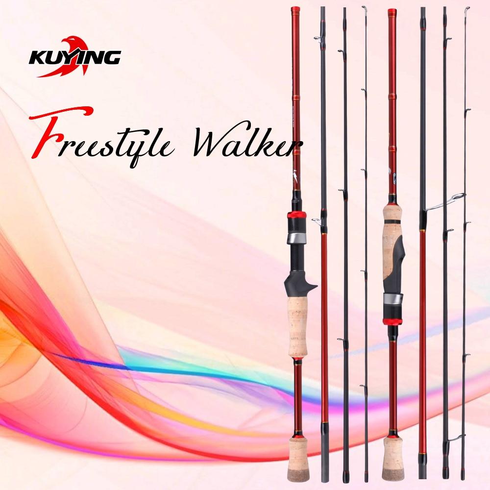 KUYING NEW Freestyle Walker Spinning Casting 2.1m 7'0 Fishing Mini Travel Fish Lure Rod Pole Stick Cane Soft Light Carbon 2 10g