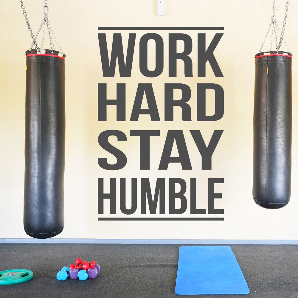G198 Work Hard Stay Humble Inspirational Quotes Wall Sticker Home Art Decals Decor Gym, sports room wall stickers decoration ...