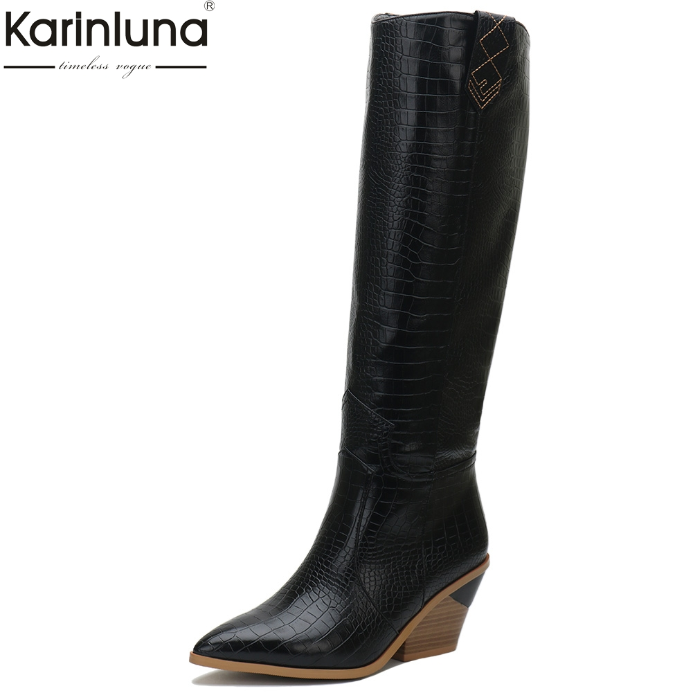 2019 plus Size 33 46 Fashion comfortable chunky Heels knee high Boots Women Shoes Western boots