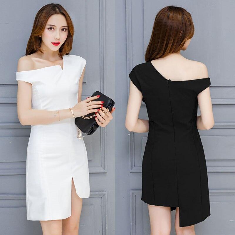 Une dame printemps et été nouveau design robe irrégulière sexy femmes tenue blanc noir vestido marque qualité mode européenne s-xxl