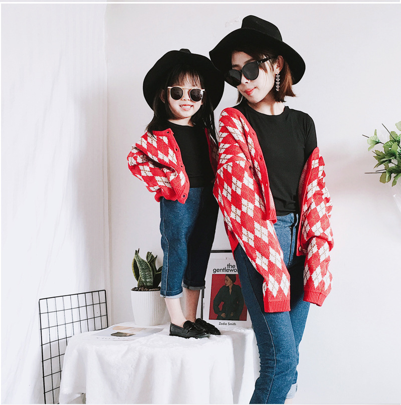Family Sweaters Outwear Mommy and Me Clothes Autumn Winter Knitted Cardigans Mum Kids Sweater Family Matching Outfits Clothing Одежда
