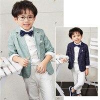 2018 Fashion Plaid Blazer+Pant+Shirt Boys Suits Children Formal Suits 3pcs Boys Clothings Sets for Weddings Boys Clothes S84651A