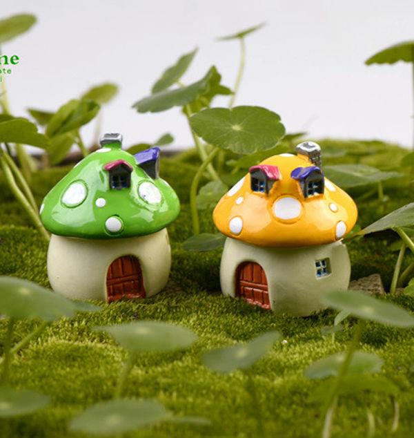 1pcs Ceramic Garden Mushrooms House Fairy Miniatures Moss Terrariums Resin Craft Ornament Mushroom Dollhouse