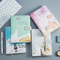 Kawaii b6 planner 노트북 메모장 사무실 학교 용품 pu 가죽 cutton cover month daily agenda 일기 학생 선물