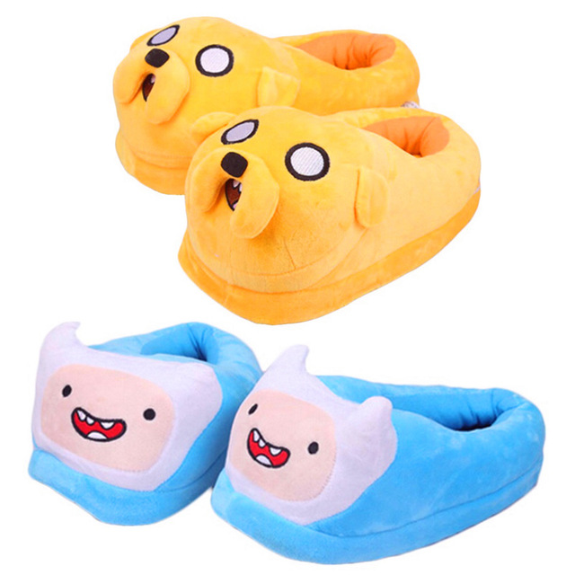c8714fdc216 27cm Anime Cartoon Adventure Time Finn Jake Plush Shoes Home House Winter  Slippers for Children Women