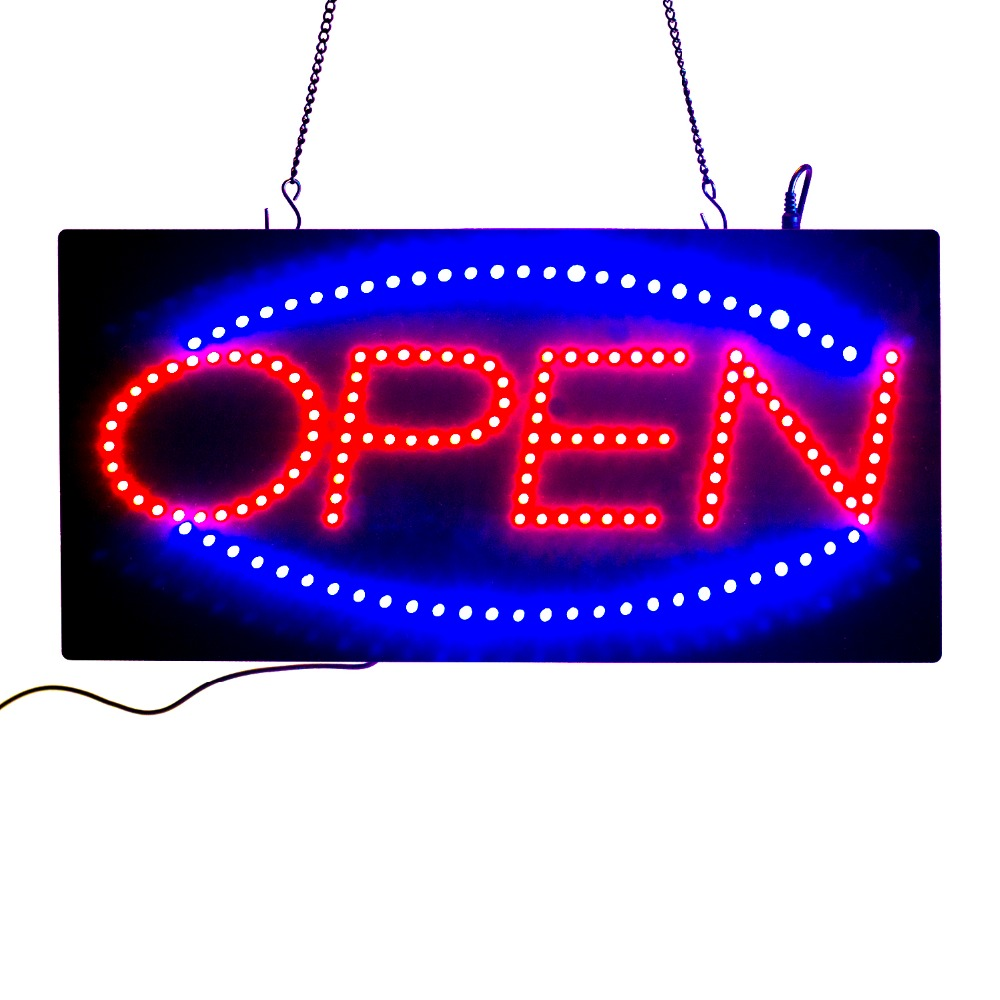 19INCH Ultra Bright Animated Led Neon Light Business OPEN Sign Green/Blue/Red Flicker +On/Off Switch Bright Light Neon